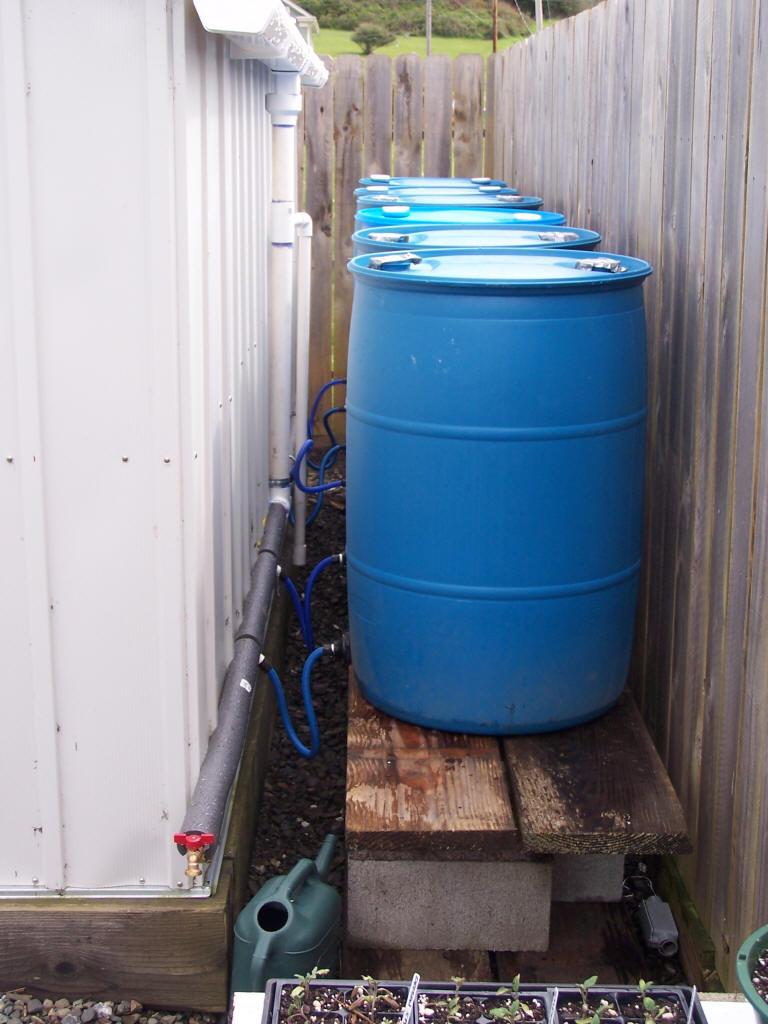 قرار دادن بشکه های جمع کننده آب باران کنار ساختمان
